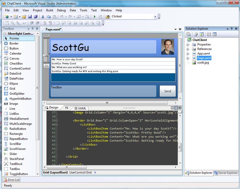 ScottGu's Blog - First Look at Using Expression Blend with